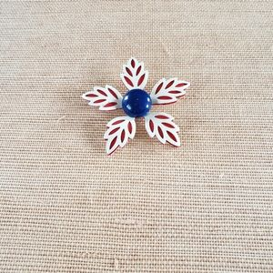 Vintage Midcentury Red, White, and Blue Floral Pin